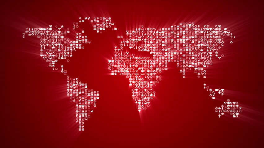 Digital red world map loop five colors in portfolio videos de different icons form the world map silhouette on red background more symbols and color backgrounds gumiabroncs Images