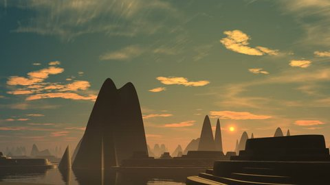 The city from pyramids and ziggurats costs among water. Over the horizon the bright being shone object (the sun, UFO) rises. In the morning sky clouds slowly float. The horizon in a fog.