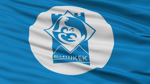 Bishkek Capital City Flag of Kyrgyzstan, Close Up Realistic 3D Animation, Seamless Loop - 10 Seconds Long
