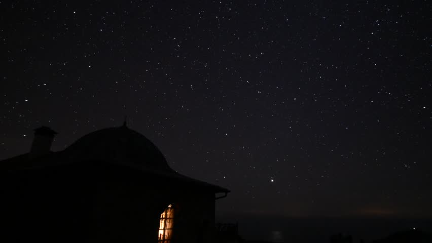 Moonrise and stars timelapse, Paterica church, Mount Athos