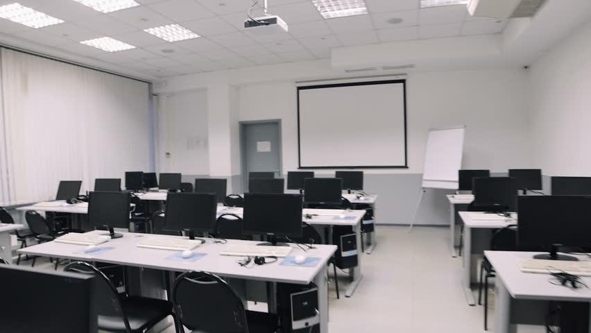 Classroom Auditorium Design ~ Classroom with computers steadicam fly thru auditorium