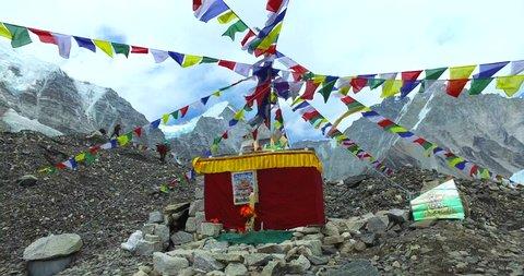 View of the Everest Base Camp on the glacier Khumbu- Nepal Himalayas.