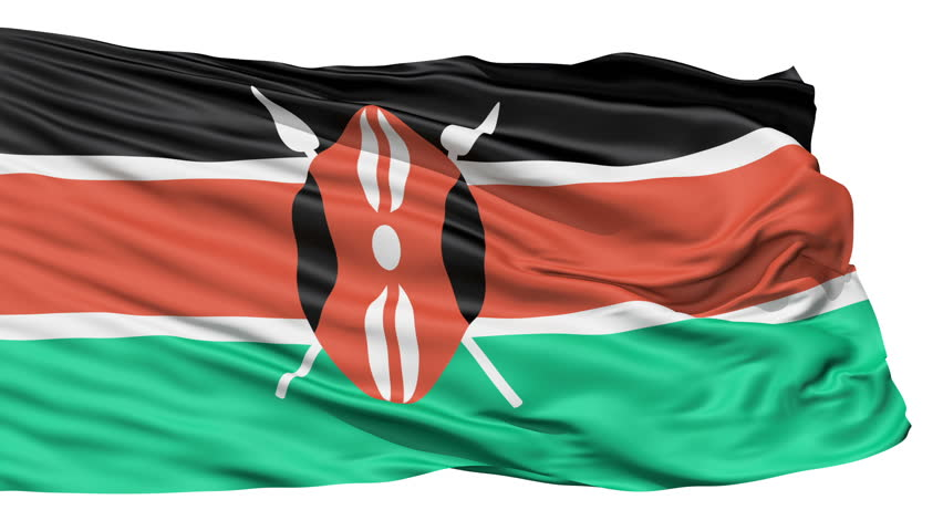 Flying Flag Of Kenya with a Maasai shield and spears symbolising defense of the country.