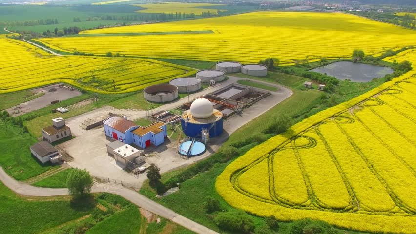 Camera flight over biogas plant from pig farm in rapeseed fields. Renewable energy from biomass. Modern agriculture in Czech Republic and European Union.