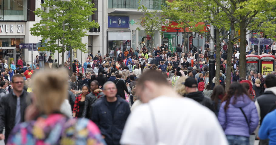 LIVERPOOL, ENGLAND - MAY 26, 2015 Liverpool UK City Center Shopping Street People Walk Commuters Commute Rush Hour ( Ultra High Definition, UltraHD, Ultra HD, UHD, 4K, 2160P, 4096x2160 )
