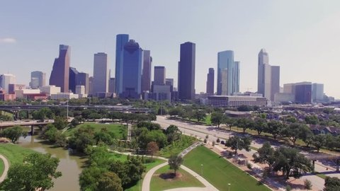 Aerial view of city of Houston/ This video was shot in 4k for best picture quality.