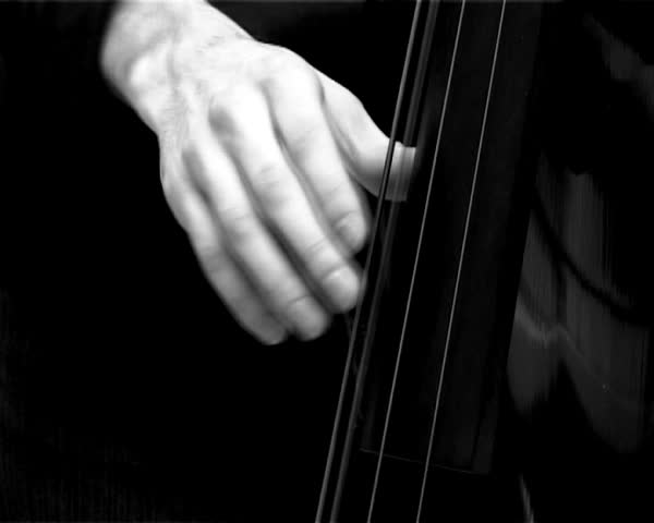 Jazz player in black and white. Imitation of documentary movie 50-60s years