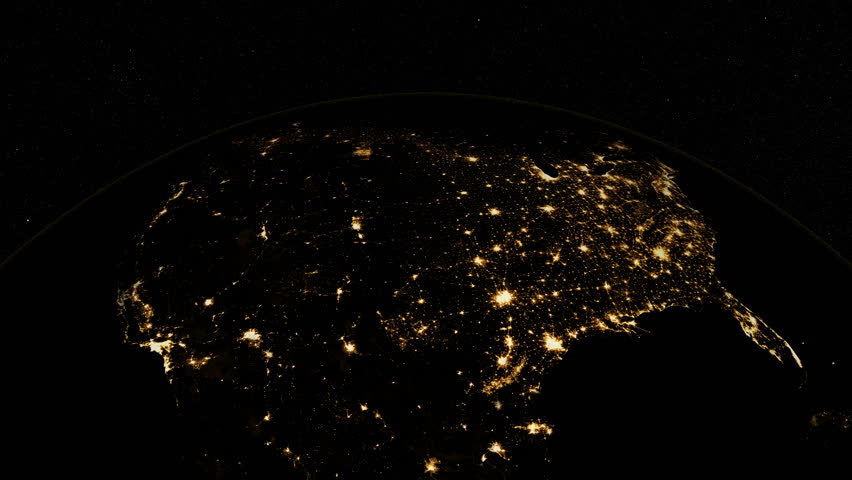 At Night Over USA The United States From Space Clip Contains - 4k image of us map