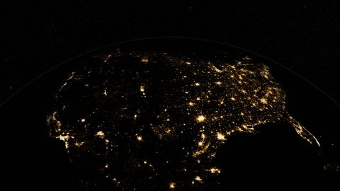 At night over USA. The United States from space. Clip contains earth, usa, us, space, night, light, city, map, globe, United States. Images from NASA.