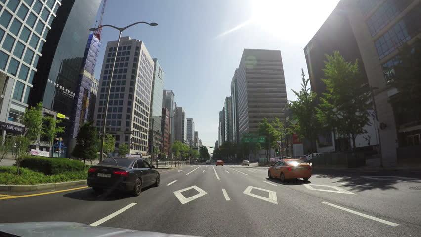 POV over downtown Seoul in South Korea