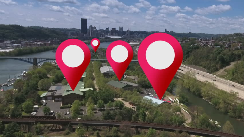 Simulated GPS location markers are placed on businesses in a city's suburbs.	 | Shutterstock HD Video #16733080