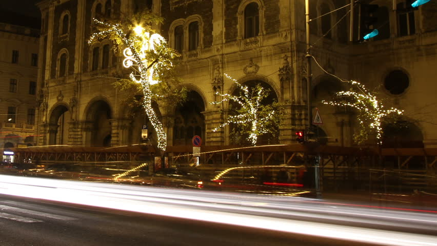 European City at Night Timelapse with Christmas ornaments along the boulvard Budapest Hungary