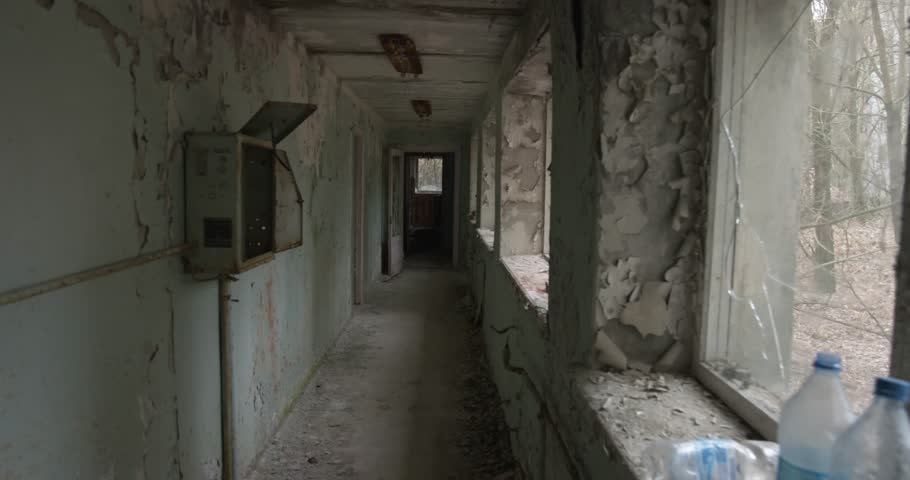 Picture like in a horror film. shot at terrible abandoned school and kindergarten. Video from Pripyat town in the Chernobyl zone   Shutterstock HD Video #16764070
