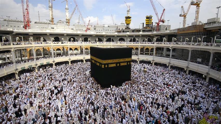 MECCA, SAUDI ARABIA - January 9, 2016 : Muslim pilgrims revolving around the Kaaba inside the Masjid Al-Haram in Mecca.
