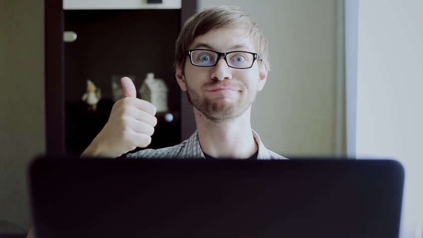Funny nerd hamming front of a laptop | Shutterstock HD Video #16785040