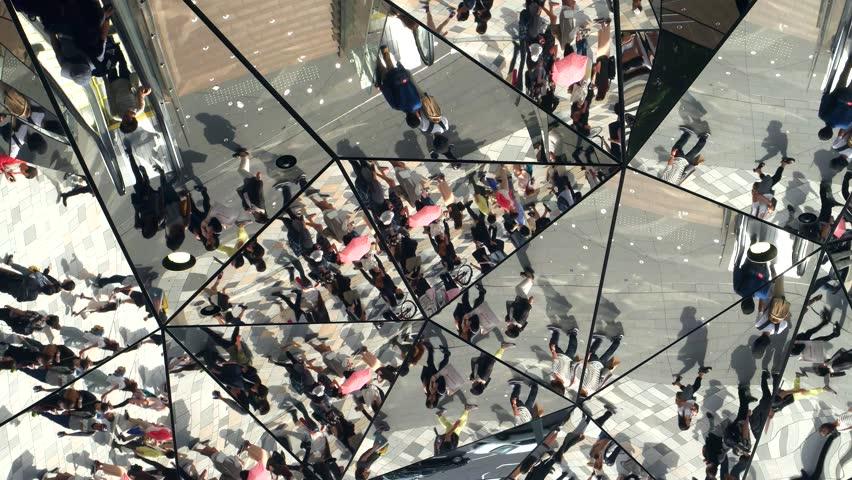 Tokyo- May 2016: Street view in mirror mosaic reflection. Harajuku. 4K resolution