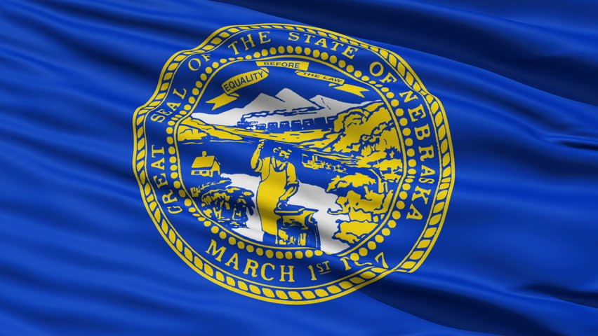 Waving Flag Of The US State of Nebraska with the official state seal on blue.