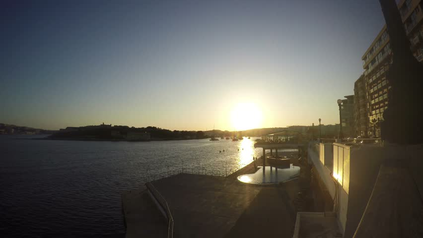 Sliema Sunset Promenade Mediterranean Sea Republic Of Malta Real Time 4k