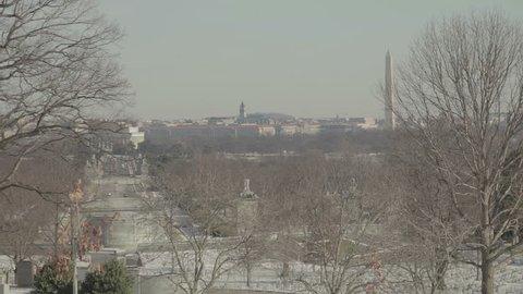 View of Washington DC from Arlington Cemetery. Washington DC - USA: January, 2016