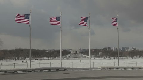 View of Lincoln Memorial taken from the Washington Monument in Washington D.C. with US flags in foreground. Washington DC - USA: January, 2016