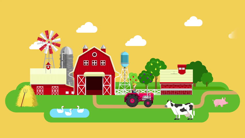 Flat Farm Video Concept Intro. Stock Footage Video (100% ...