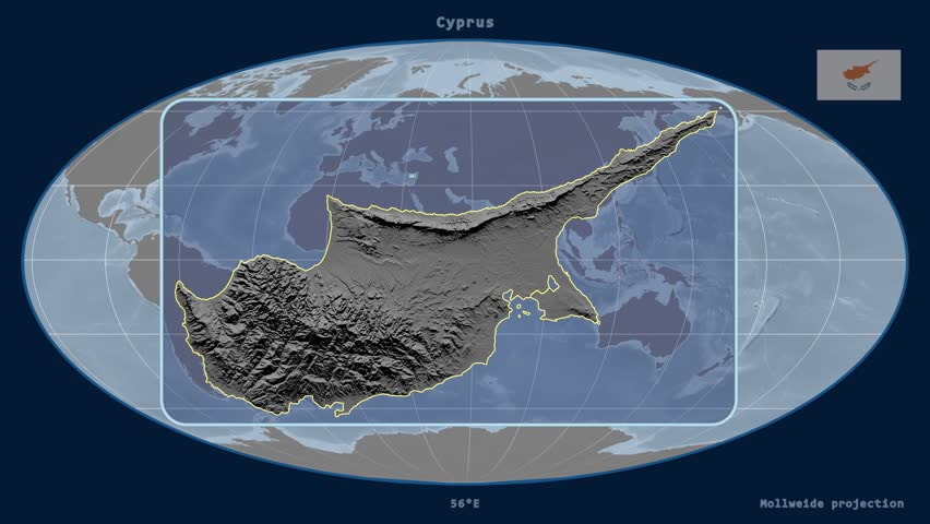 Cyprus map stock footage video shutterstock zoomed in view of a cyprus outline with perspective lines against a global elevation map gumiabroncs Image collections
