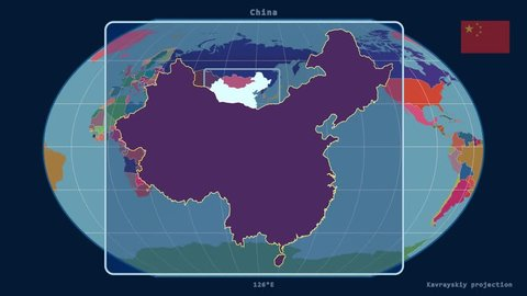 Zoomed-in view of a China outline with perspective lines against a global admin map in the Kavrayskiy VII projection