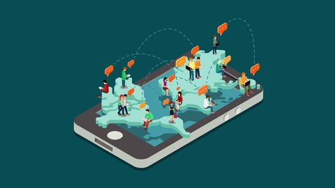 Online chat intro flat 3d isometric cartoon animated concept. People chatting reveal animation on world map on big smart phone 4k video.