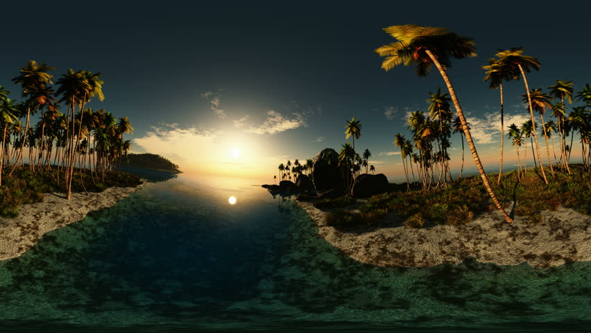 panoramic of tropical beach at sunset. made with one 360 degree lense on moving camera without any seams. ready for virtual reality