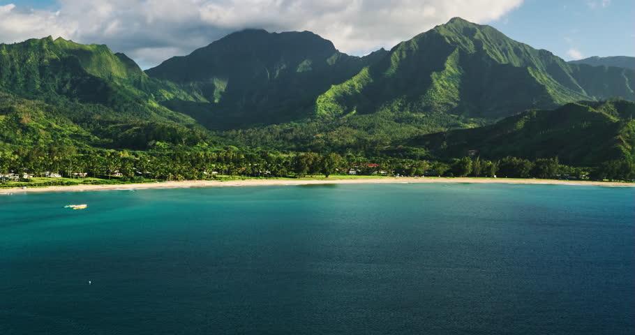 Mountain Kauai Beach Cliff Sea Sand Shrubs Aerial: Aerial View Flying Over Tropical Coral Reef Lagoon Towards