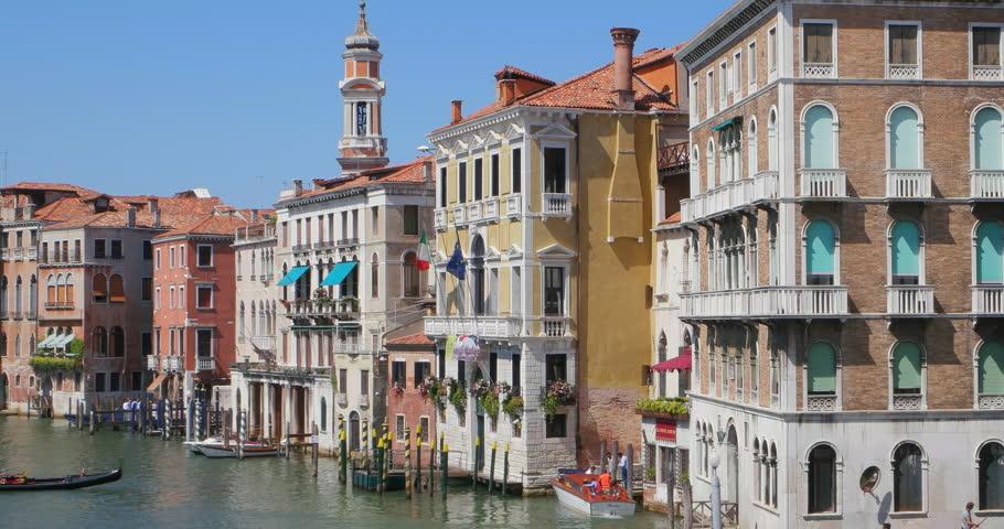 Venezia Italia 10 Jul 2015: Italian Architecture Venice Canal, Italy. Venice  Canal Panorama Pan. Gondola Boating. Gondolier Gondola Ride. Venice Summer.