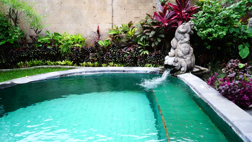 Frog Statue With Fountain Pool Which Filling A