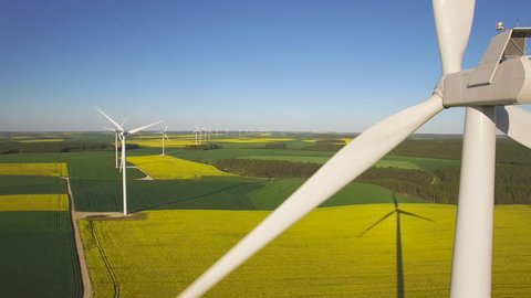 Aerial view of wind turbine, UHD, 4K (3840X2160)