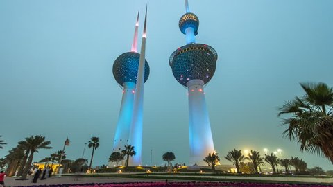 The Kuwait Towers day to night timelapse hyperlapse - the best known landmark of Kuwait City. Kuwait, Middle East