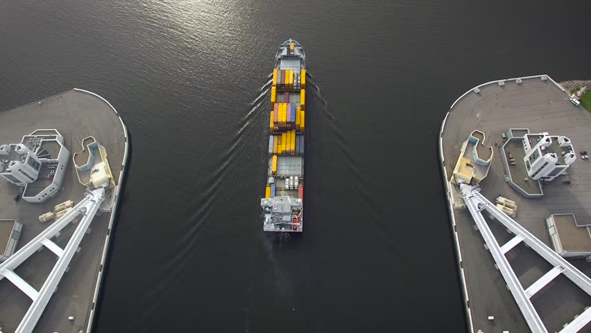 Aerial view of container ship in the gulf of Finland