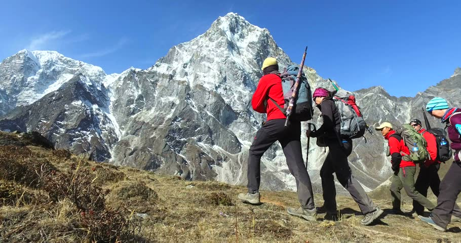 EVEREST BASE CAMP TREK / NEPAL- APRIL 2, 2016: Beautiful view of the mountains, Nepal, tourists on the track to the base camp of Mount Everest.
