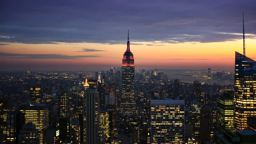 Timelapse of dusk to night falling over New York City and the Empire State Building #1698577