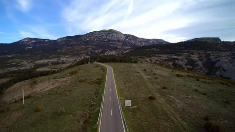 Aerial view: road in Pyrenees mountain, Catalonia. C462
