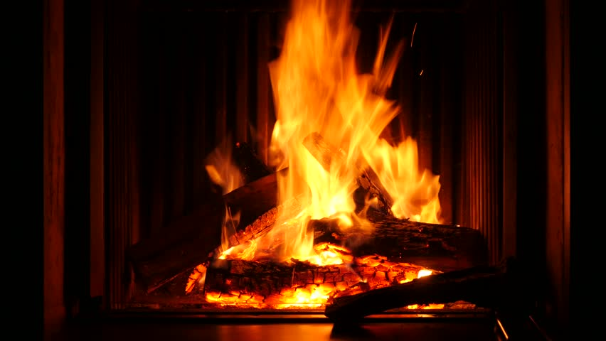 Fire In A Fireplace Of Stock Footage Video 100 Royalty Free
