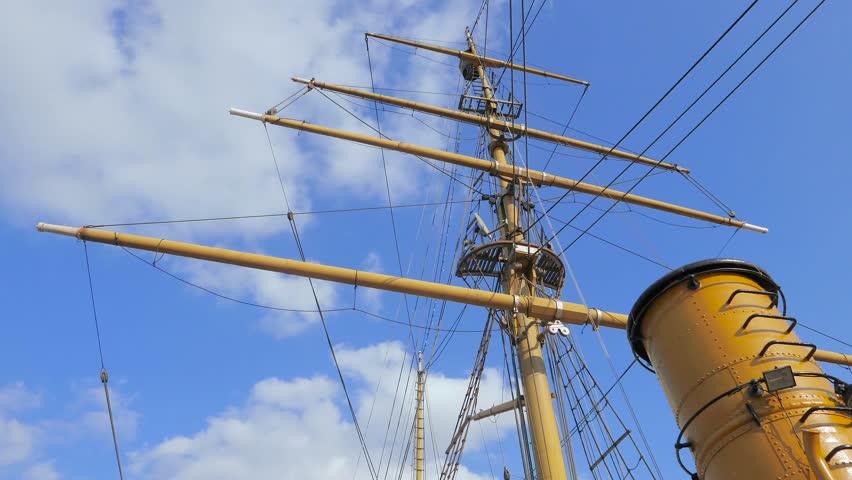 Mast and rigging of three-masted sailing ship ARA Uruguay, Puerto Madero, Buenos Aires