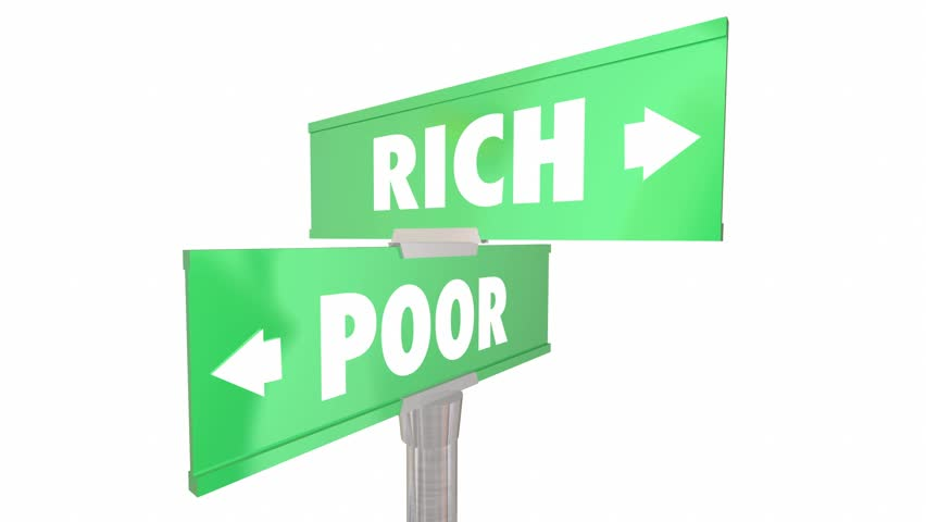 Rich Vs Poor Wealth Versus Poverty Signs Words 3d Animation
