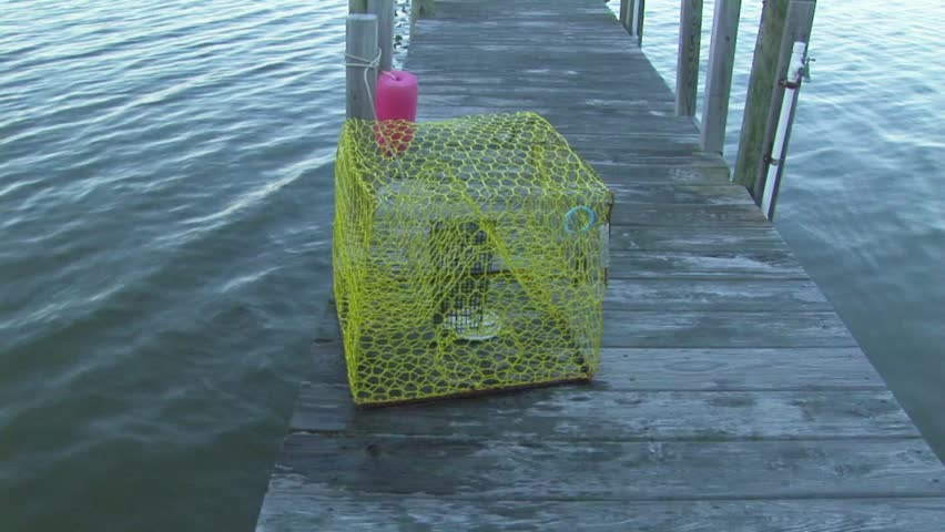 Wire crab trap on edge of boat dock in lagoon Marshland Wachapreague, Accomack county Eastern shore of Virginia, USA