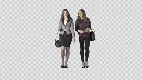 Two beautiful girls in business clothes are walking at the camera. Footage with alpha channel. Lens 85 mm. Camera is static. File format - .mov, codec PNG+Alpha