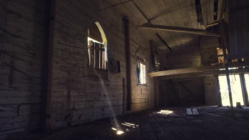 Old Ruined Church Interior. Steadicam Shot. Smooth Motion