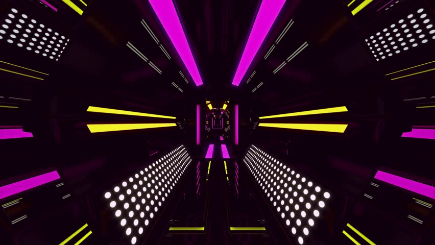 Seamless 3d Animation of sweet pink spaceship or robotic tunnel with futuristic technology design with zooming camera movement used for background pattern or in techno live concert in 4k ultra HD loop