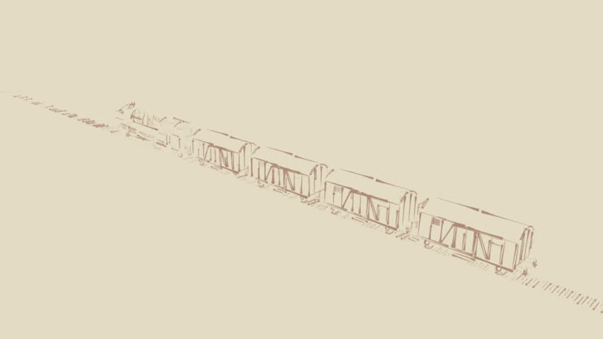 Outline sketch blueprint cartoon 2d animation of old steam retro steam engine locomotive train with freight rail cars passing by on vintage background outline malvernweather Images