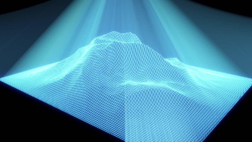 3D Wireframe Hologram Landscape Mountain in Motion | Shutterstock HD Video #17128930
