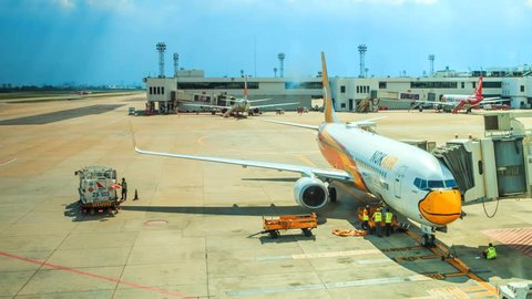 BANGKOK, THAILAND - NOVEMBER 21 : Time lapse Loading cargo to plane for air freight logistic background at Don Mueang Airport on November 21,2015 in Bangkok Thailand