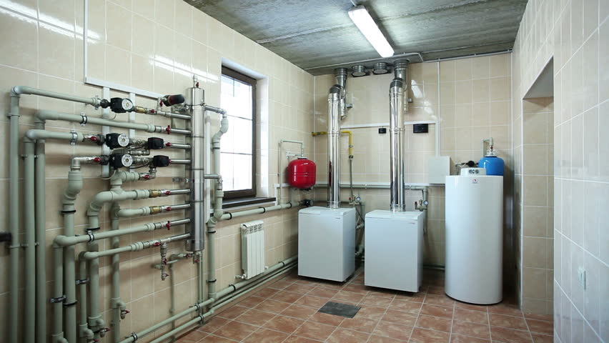 Boiler-house In Private Home. Heating System. Gas Boilers In Boiler ...