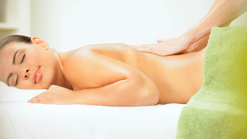 Brunette Client Receiving Body Massage At Spa Club Hd Stock Footage Clip